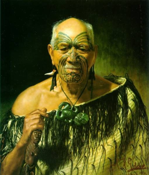 Patara Te Tuhi an old warrior 1901 765x635cm